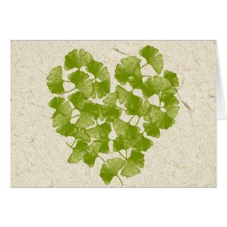 Ginkgo-Blatt-Herz Grußkarte