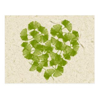 Ginkgo-Blatt-Herz Postkarte