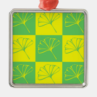 ginkgo quadratisches silberfarbenes ornament