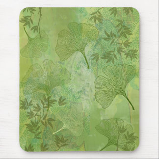 Ginkgo-und Bambus-Blätter - grüne Farben Mousepad
