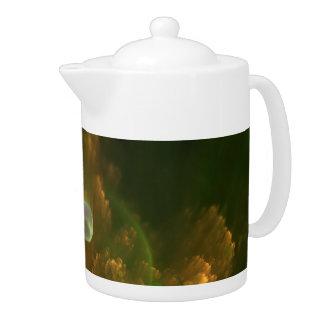 Ginko Blatt mit Perlen-Fraktal-Teekanne