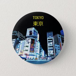 Ginza Bezirk in Tokyo, Japan nachts Runder Button 5,1 Cm