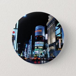 Ginza Bezirk in Tokyo, Japan nachts Runder Button 5,7 Cm