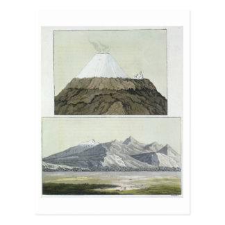 Gipfel von Cotopaxi (Spitze) und die Eruption von Postkarte