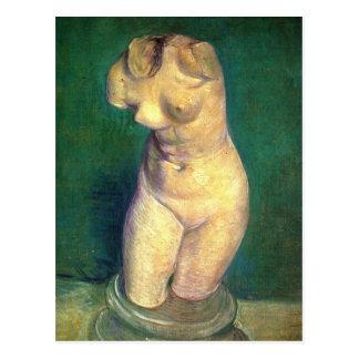 Gips-Statuette eines weiblichen Torsos durch Van Postkarte