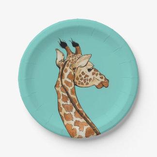 Giraffe auf aquamarinem Hintergrund Pappteller