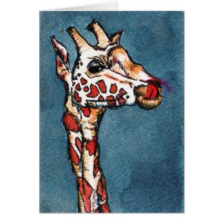 Giraffe auf Blau Karte