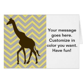 Giraffe auf dem Zickzack Zickzack - Gelb und Grau Karte