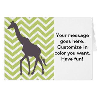 Giraffe auf dem Zickzack Zickzack - Grün und Weiß Karte