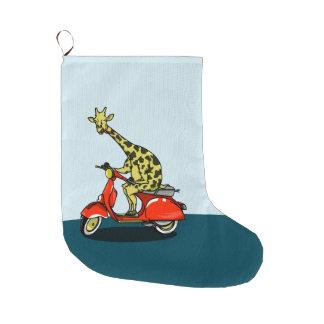 Giraffe auf einem Retro Moped Großer Weihnachtsstrumpf