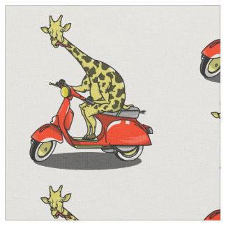 Giraffe auf einem Retro Moped Stoff