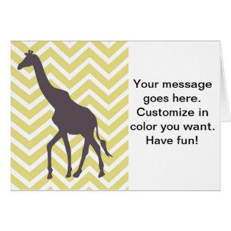 Giraffe auf Zickzack Zickzack - Gelb und Weiß Karte