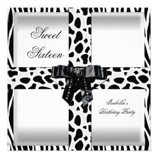 Giraffe Bonbon16 16 Schwarz-weiße Zebra-sechzehn Personalisierte Einladungen
