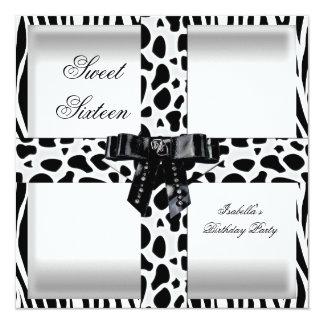 Giraffe Bonbon16 16. Schwarz-weiße Zebra-sechzehn Quadratische 13,3 Cm Einladungskarte
