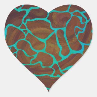 Giraffe Brown und aquamariner Druck Herz-Aufkleber