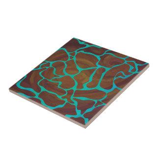 Giraffe Brown und aquamariner Druck Keramikfliese