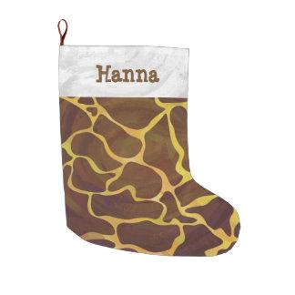 Giraffe Brown und Gelb Großer Weihnachtsstrumpf