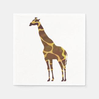 Giraffe Brown und gelbe Silhouette Serviette