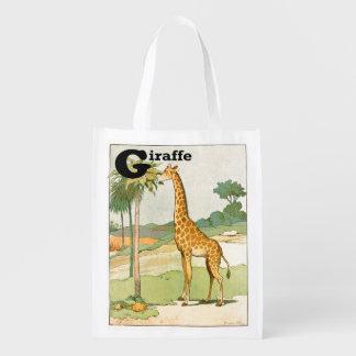 Giraffe, die Akazie in der Wüste isst Wiederverwendbare Einkaufstasche