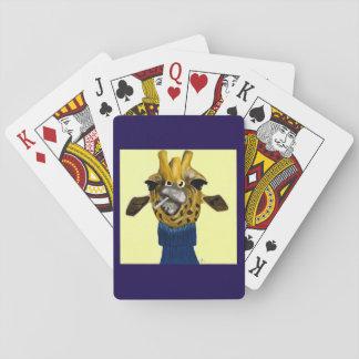 Giraffe, die Cardss spielt Spielkarten
