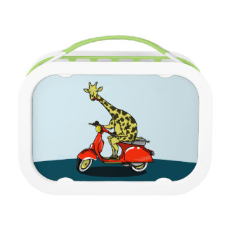 Giraffe, die ein Moped reitet Brotdose