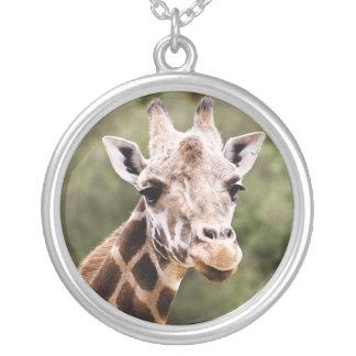 Giraffe Halskette Mit Rundem Anhänger