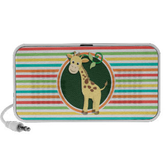 Giraffe Helle Regenbogen-Streifen iPod Speaker