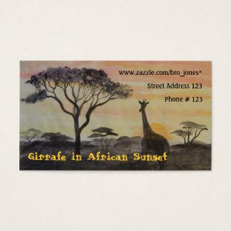 Giraffe im afrikanischen Sonnenuntergang Visitenkarte