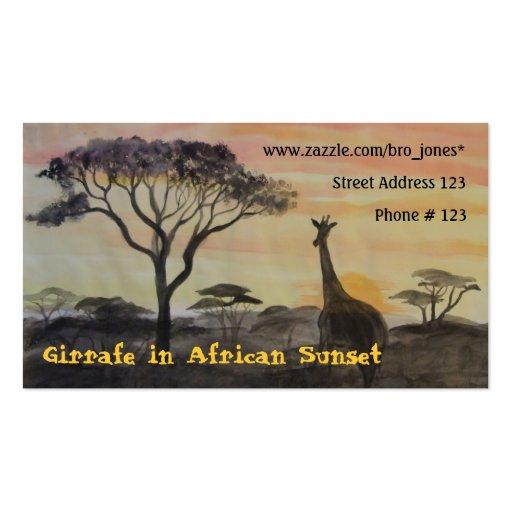 Giraffe im afrikanischen Sonnenuntergang Visitenkartenvorlage