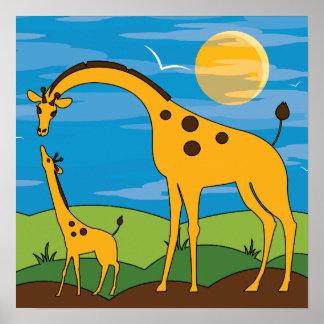 Giraffe im wilden Kinderraum-Dekor-Tier-Plakat Poster