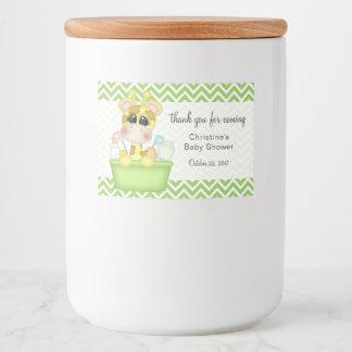 Giraffe in der Badewanne-Babyparty danken Ihnen Lebensmitteletikett