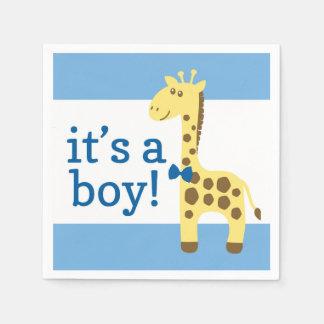 Giraffe in der blauen Bogen-Babyparty für Jungen Papierserviette