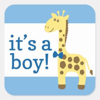 Giraffe in der blauen Bogen-Babyparty für Jungen Quadratischer Aufkleber