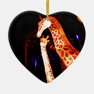 Giraffe leuchten Nachtphotographie-Festivalkunst Keramik Herz-Ornament