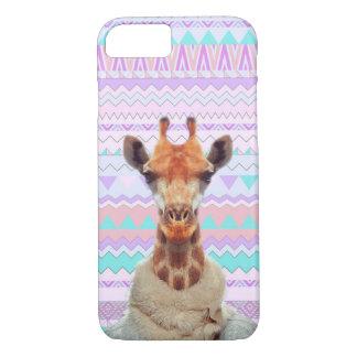 Giraffe lustig mit aztekischem Pastellstammes- iPhone 8/7 Hülle