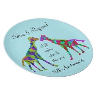 Giraffe Luv 25. Jahrestags-Platte Melaminteller