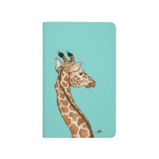 Giraffe mit aquamarinem Hintergrund Taschennotizbuch