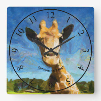 Giraffe Quadratische Wanduhr