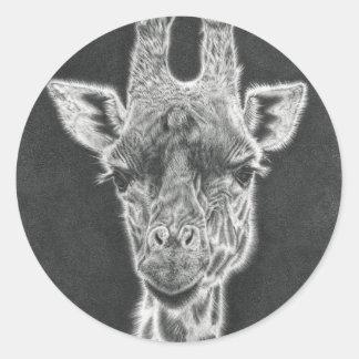 Giraffe Runder Aufkleber