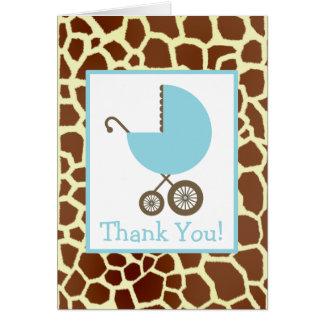 Giraffe u. blaue Wagen-Babyparty danken Ihnen Grußkarte