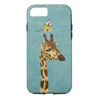 Giraffe u. kleiner Vogel blauer iPhone 7 Kasten iPhone 8/7 Hülle