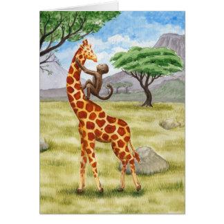 Giraffe und Affe Karte