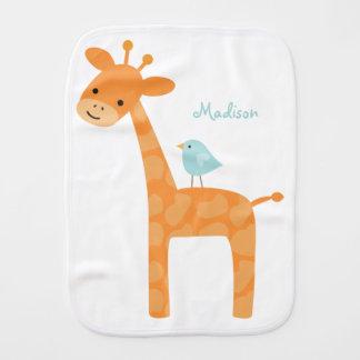 Giraffe und blauer Vogel personalisiert Spucktuch