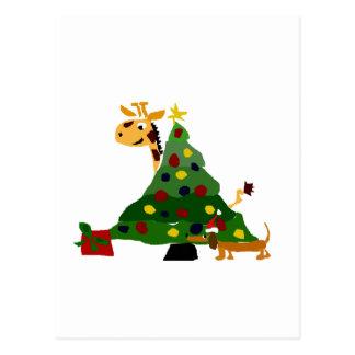 Giraffe und Dackel durch Weihnachtsbaum-Kunst Postkarte