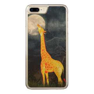 Giraffe und Mond iPhone 6 Samsung-Galaxie-Holz Carved iPhone 8 Plus/7 Plus Hülle