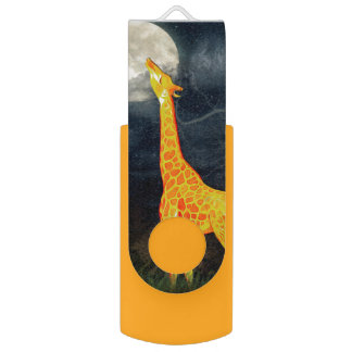 Giraffe und Mond | USB wivel Blitz-Antrieb USB Stick