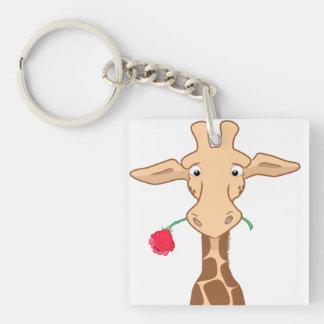 Giraffe und Rose Keychain Schlüsselanhänger