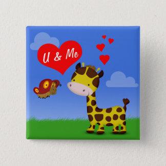 Giraffe und Schmetterling in der Liebe - Knopf Quadratischer Button 5,1 Cm