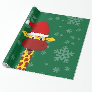 Giraffe und Schneeflocken Geschenkpapier