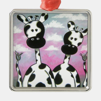 Giraffees zwei Zazzle Silbernes Ornament
